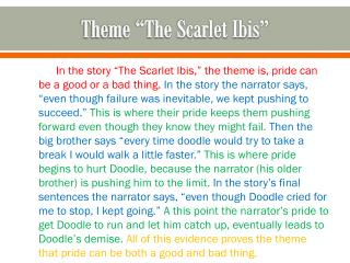 "Theme ""The Scarlet Ibis"""