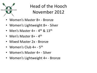 Head of the Hooch November  2012