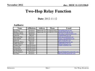 Two-Hop Relay Function