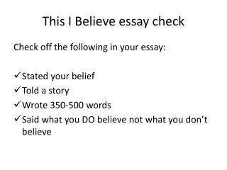 This I Believe essay check