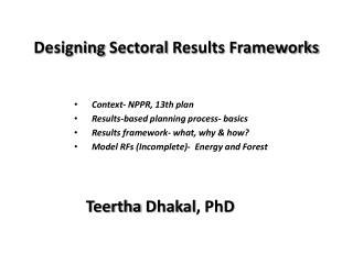 Designing  Sectoral  Results Frameworks