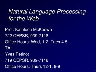 Natural Language Processing for the Web