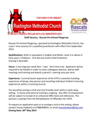 Staff Vacancy - Rascals Pre-School Playgroup