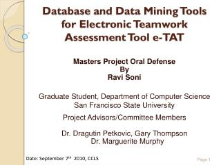Database  and Data Mining Tools for Electronic Teamwork Assessment  Tool  e-TAT