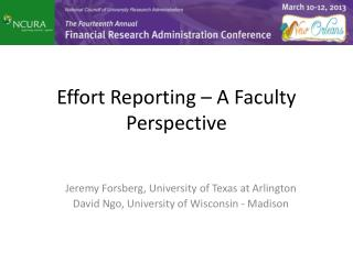 Effort Reporting – A Faculty Perspective