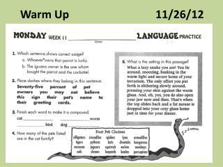 Warm Up                               11/26/12