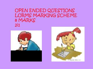 OPEN ENDED QUESTIONS  LORMS MARKING SCHEME  8 MARKS  2i1
