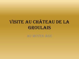 Visite au château de la  Groulais