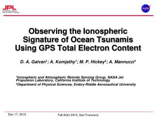 Observing the  Ionospheric  Signature of Ocean Tsunamis Using GPS Total Electron Content