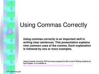 Using Commas Correctly