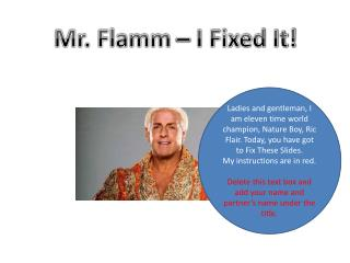 Mr. Flamm – I Fixed It!