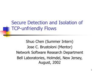 Secure Detection and Isolation of TCP-unfriendly Flows