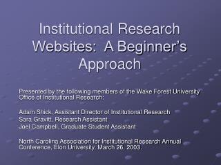 Institutional Research Websites: A Beginner