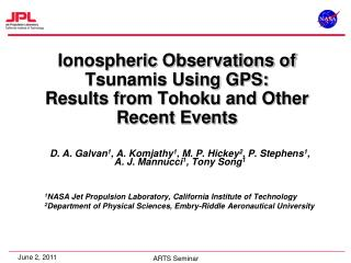 Ionospheric  Observations of Tsunamis Using GPS:  Results from Tohoku and Other Recent Events