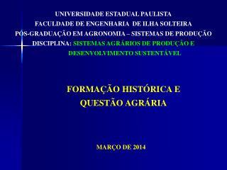 FORMAÇÃO HISTÓRICA E   Q UESTÃO AGRÁRIA