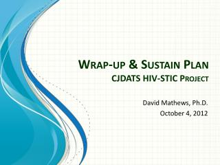 Wrap-up & Sustain Plan CJDATS HIV-STIC Project