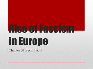 Rise of Fascism in Europe
