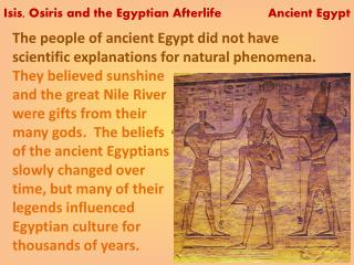 Isis, Osiris and the Egyptian Afterlife             Ancient  Egypt