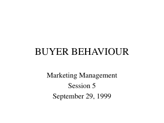 Buyer Behaviors