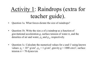 Activity 1 : Raindrops (extra for teacher guide).
