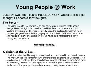 Young People @ Work
