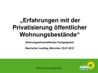 """""""Erfahrungen mit der Privatisierung öffentlicher Wohnungsbestände"""""""