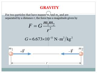 GRAVITY For  two particles that have masses  m 1  and  m 2 and are