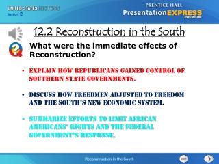 Explain how Republicans gained control of southern state governments.