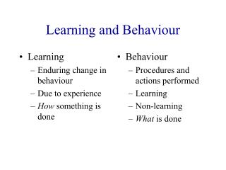 Learning and Behaviour