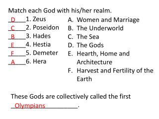 Match each God with his/her realm.  _____1. Zeus _____2. Poseidon _____3. Hades _____4. Hestia