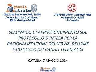 Direzione Regionale della Sicilia  Settore Servizi e Consulenza  Ufficio Gestione Tributi