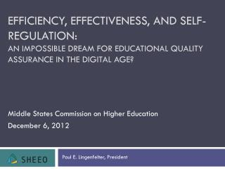 Middle States Commission on Higher Education  December 6, 2012