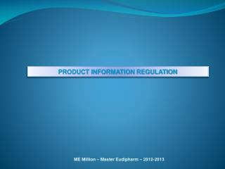 PRODUCT INFORMATION REGULATION