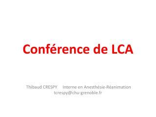Conférence de LCA