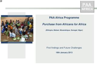 PAA  Africa Programme Purchase from Africans  for  Africa