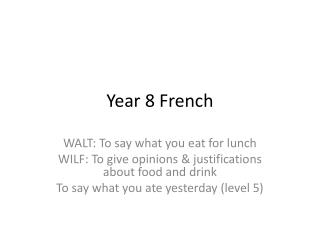 Year 8 French