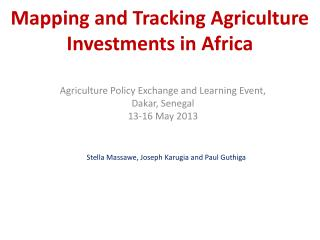 Mapping and Tracking Agriculture Investments in Africa