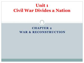 Unit 1 Civil War Divides a Nation