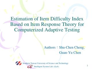 Authors : Shu -Chen Cheng,