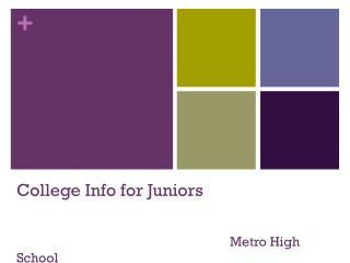 Colleg e Info for Juniors Metro High School