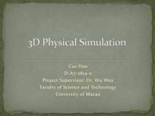 3D Physical Simulation