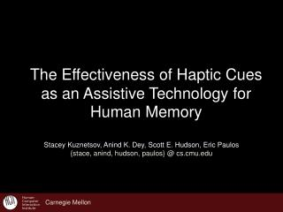 The Effectiveness of Haptic Cues  as an Assistive Technology for Human Memory