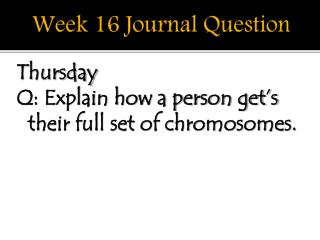 Week 16 Journal Question