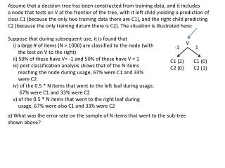 Assume  that a decision tree has been constructed from training data, and it includes