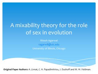 A  mixability  theory for the role of sex in  evolution