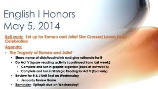 English I Honors May 5, 2014