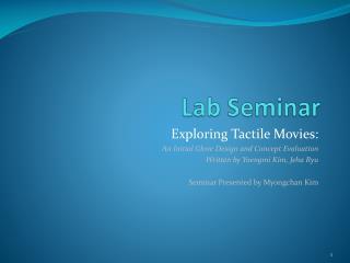 Lab Seminar
