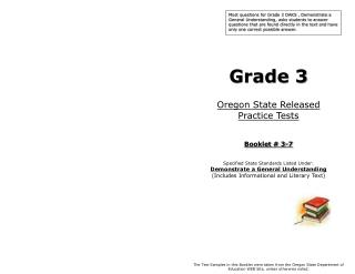 Grade 3 Oregon State Released  Practice Tests Booklet # 3-7