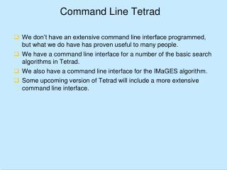 Command Line Tetrad