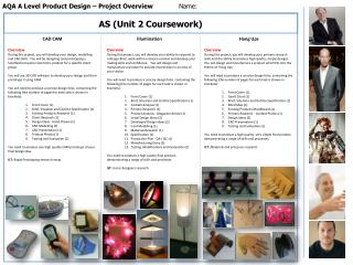 AQA A Level Product Design – Project Overview	 Name: